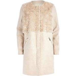 Cream faux suede shearling jacket