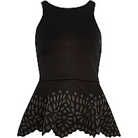 Black puff print peplum top