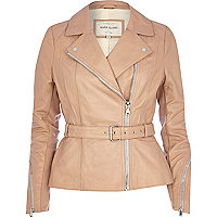 Pink leather peplum jacket