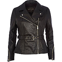 Black leather peplum jacket
