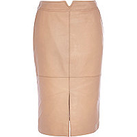 Light pink leather split front pencil skirt