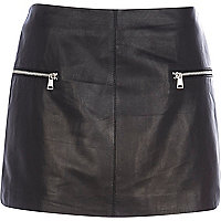 Black leather zip trim mini skirt