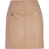Nude leather zip trim mini skirt