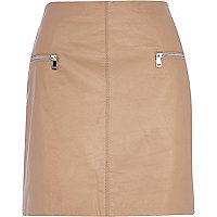 Nude leather zip trim mini skirt