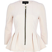 Cream textured jersey peplum jacket