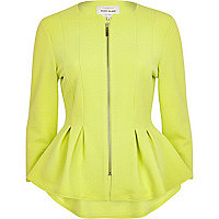 Lime textured jersey peplum jacket