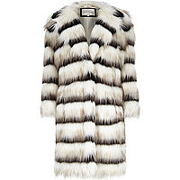 Cream stripe faux fur coat