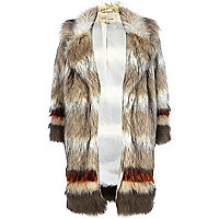 Beige stripe faux fur coat
