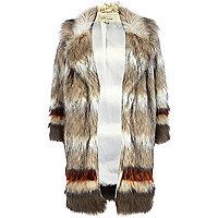 Beige stripe faux fur coat