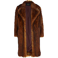 Copper faux fur coat