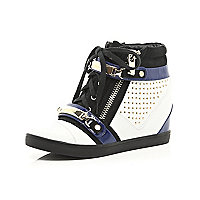 White stud hidden wedge hi tops