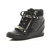 Black stud hidden wedge hi-tops
