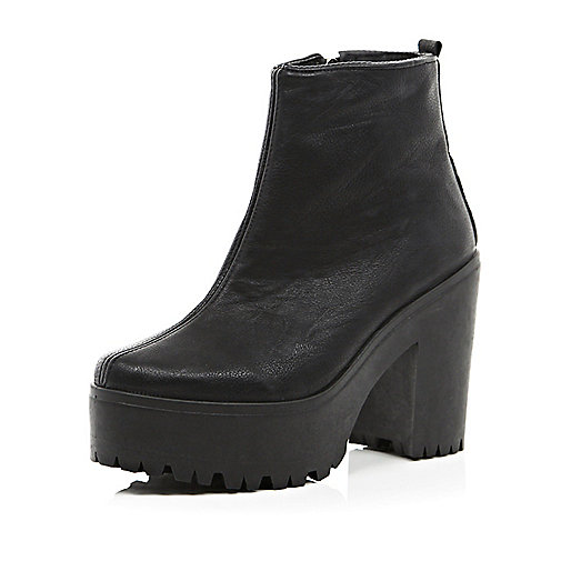 Black cleated sole platform ankle boots