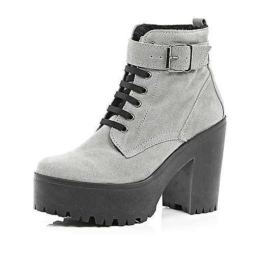 Grey suede lace up platform ankle boots