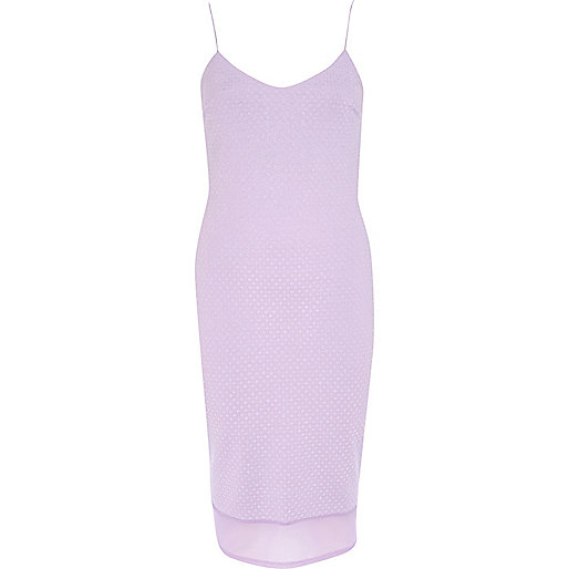 Lilac chiffon hem slip dress