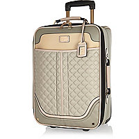 Grey quilted wheelie suitcase