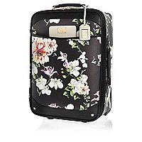 Black floral print wheelie suitcase