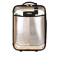 Mixed metallic split front wheelie suitcase