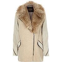 Beige woolen tweed biker coat