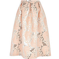 Light pink metallic jacquard midi skirt