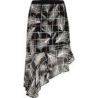 Black fern check print hanky hem skirt
