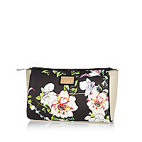 Black floral print wash bag