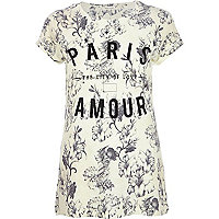 Ecru Paris city of love floral fitted t-shirt