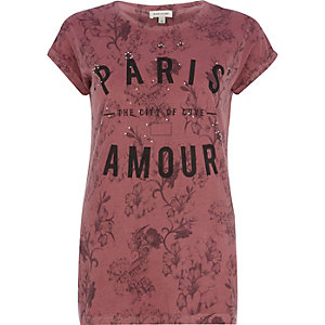Red Paris city of love floral fitted t-shirt
