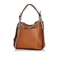 Tan chain trim slouch bag