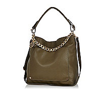 Dark green chain trim slouch bag