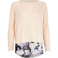Light pink blurred print hem jumper