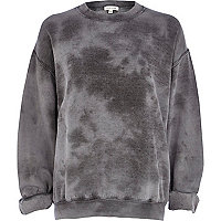 Grey tie dye brushed sweatshirt