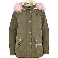 Khaki faux fur tirm parka jacket