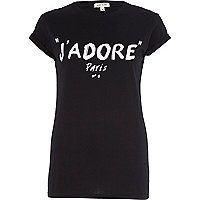Black j'adore Paris print fitted t-shirt