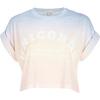 Pink ombre unicorn print cropped t-shirt