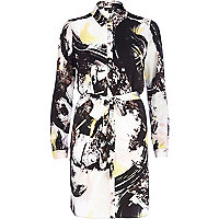 Cream art print shirt dress