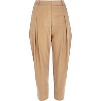Camel peg leg trousers
