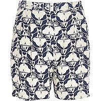 Blue petal print high waisted shorts