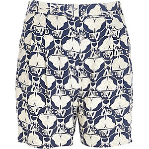 Blue petal print high waisted shorts