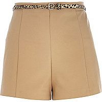 Camel leopard belt smart shorts