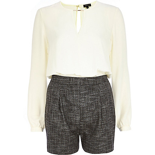 White chiffon and tweed smart playsuit