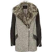 Grey faux fur woolen biker coat