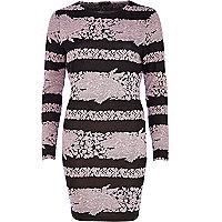 Pink floral stripe bodycon dress
