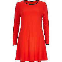 Red contrast trim swing dress
