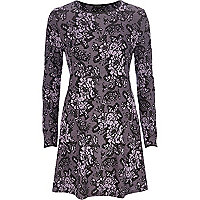 Light purple floral jacquard swing dress