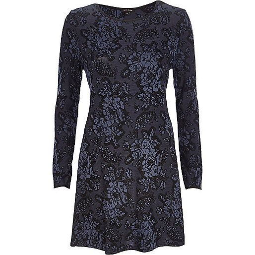 Dark blue floral jacquard swing dress