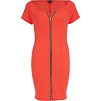 Red zip front bodycon dress