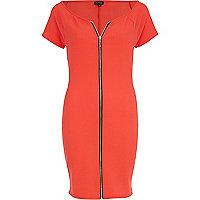 Red zip front bodycon dress