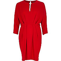 Red waisted keyhole dress