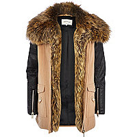Beige faux fur collar wool parka jacket
